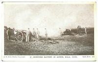 Antique printed military WW1 postcard Howitzer Battery In Action RGA LYDD