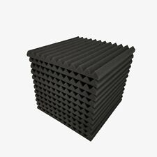 "12 pcs 12""x12""x1"" Acoustic Foam Black Panel Tiles Wall Record Studio Sound Proof"