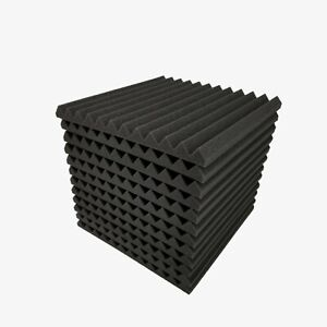 "12 pcs 12""x12""x1"" Acoustic Foam Black Panel Tiles Wall Record Studio Sound Proof"