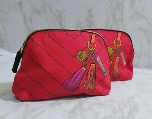 30xESTEE LAUDER RED PRINTED TASSEL MAKEUP COSMETIC TRAVEL POUCH BAG 9*6*2 INCH