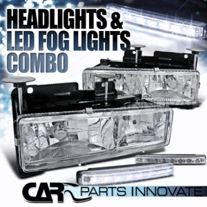 88-98 C10 C/K Silverado Sierra 94-99 Suburban Chrome Headlights+8-LED Fog Lamps