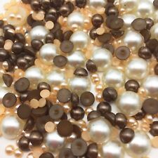 1000 Half Round Pearl Flat back Beads Embellishment Cabochons Card Making