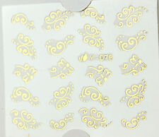 GOLD Butterfies Dots Nails Water Transfer Nail Art Stickers Decals GEL Polish