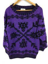 1980s VTG Womens M L Fairy Kei Sparkle Purple Black Acrylic Lurex Pullover USA