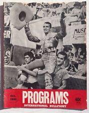 Vintage October 1961 Programs International Bullfight Bullfighting Magazine