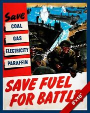 WWII SAVE FUEL FOR THE WAR PROPAGANDA POSTER PAINTING REAL CANVAS ART PRINT