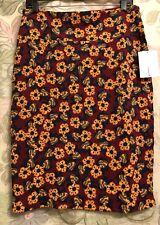 LulaRoe Large Cassie Pencil Skirt. Burgundy w/ Gold Floral Design 🌻 New W/Tag