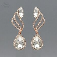 ROSE GOLD Plated Clear Crystal Rhinestone Wedding Drop Dangle Earrings 2083 Prom