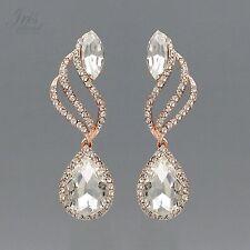 Wedding Drop Dangle Earrings 2083 Prom Rose Gold Plated Clear Crystal Rhinestone