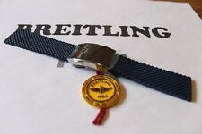 100% Genuine Breitling Blue Aero Classic Rubber Deployment Strap 24-20mm & Clasp
