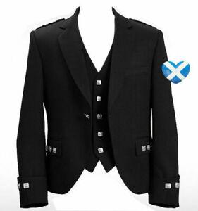 Argyle Kilt Jacket Black Men's Custom Made Scottish Jacket With Waistcoat