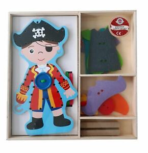 Childrens Wooden Dress Up Pirate & Accessories Play Set Boys Toy (3 Years+)