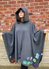 More details for grey fleece hooded blanket poncho / camp blanket
