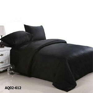 Black Duvet Doona Quilt Cover Set Double/Queen/King Size Bed Fitted Sheets Set
