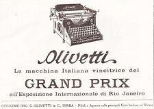 PUBBLICITA' 1923 MACCHINA DA SCRIVERE OLIVETTI  M20 GRAND PRIX RIO JANEIRO IVREA