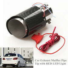 35-61mm Carbon Fiber Style Car SUV Exhaust Muffler Pipe Tip with RED LED Light