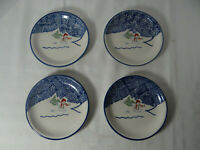 "Thomson Pottery Set of 4 Snowman Salad Dessert Plates 7 1/2"" Winter Christmas"
