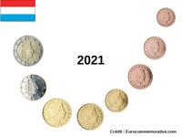Série 8 pièces Euros Luxembourg 2021 - 1 centimes à 2 Euros UNC