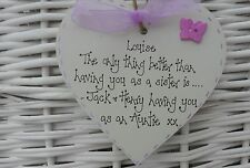 Personalised Sister Auntie wooden heart plaque keepsake birthday xmas gift 10cm