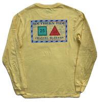SOUTHERN TIDE Mens Long Sleeve Skipjack Pocket Tee T-Shirt Yellow $44 NWT SMALL