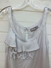 SUSSAN BLOUSE SILVER TANK CAMI BLOUSE TOP TUNIC SHIRT EMBROIDERED FRILL 14 LARGE