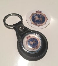 Australian Police ' Tasmania Police' Real Leather Keyring & Sticker