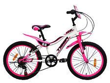 """Tiger 88 Moto 18"""" Inch Wheel Steel Frame Kids Bicycle Bike Pink White"""