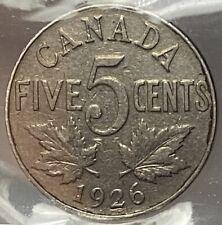 CANADA GEORGE V 5 CENTS 1926 FAR 6 - ICCS VG-10