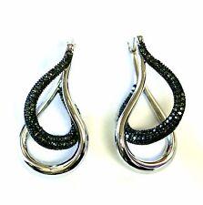 """925 sterling silver womens .75ct green diamond hoop ladies earrings 7.8g 1"""" long"""