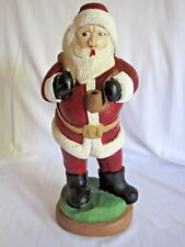 Santa Figurine Statue Signed Doc Walker 2001 Holding Tobacco Pipe & Pack