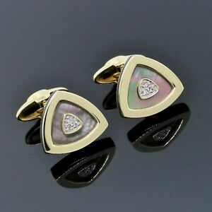 Dolan Bullock Men's 14K Yellow Gold Mother of Pearl Diamond Bar Cufflinks