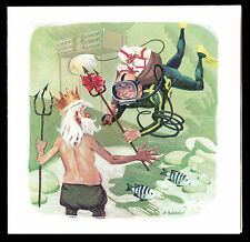c1965 art signed Robert Sherry Scuba Diver/Neptune Holiday Card Ed & Marion Link
