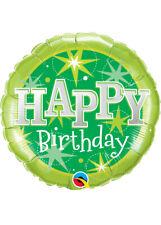 Green Sparkle Happy Birthday Helium Party Balloon