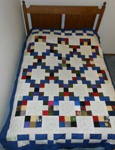 "Texas Chain Patchwork Quilt Handmade 60""  79"""