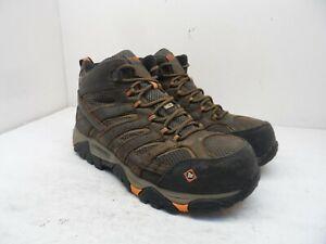 MERRELL Men's MOAB 2 VERTEX MID WP Comp Toe Work Boots J19483W Brown Size 9.5W