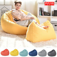 Adult Large Bean Bag Cover Kids Sofa Chair Indoor Gamer Lounger with Foot Stool