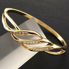 AN948 GENUINE 18K YELLOW G/F GOLD DIAMOND SIMULATED SMALL CUFF BANGLE BRACELET