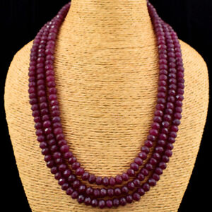 Faceted 795.00 Cts Earth Mined 3 Strand Ruby Round Cut Beads Necklace JK 08E167