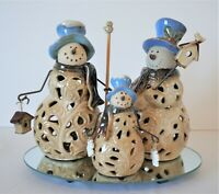 Kirkland's Snowman Trio on Mirror Base w/ Box Family Blue Hats Ceramic VHTF
