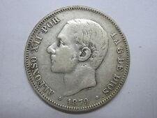 1879  ALFONSO XII 2 DOS PESETAS SPANISH SPAIN SILVER COIN