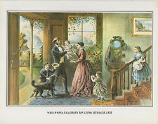 """YOUTH/"""" COLOR Lithograph 1952 Vintage Currier /& Ives /""""THE FOUR SEASONS OF LIFE"""