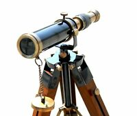 Black Antique Design Telescope W/Wooden Brown Tripod Royal Handmade style gift