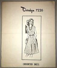 Vintage Mail Order Crochet Pattern Design 7226 Crochet Dress Sizes (32-38)