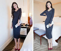 Autumn Winter Women Pencil Long Sleeve Knitted Bodycon Slim Dress V Neck Party