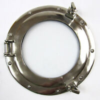 "Ship's Porthole Glass Window Aluminum Chrome Finish 11"" Nautical Wall Decor New"