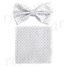 New Men's Pre-tied Bow Tie & Pocket Square Hankie white gray Polka Dots