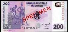 CONGO DEMOCRATIC   - 200  FRANCS 2007 Prefix NB - P 99s SPECIMEN Uncirculated