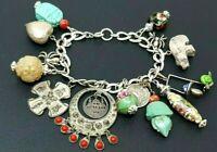 "Vintage Sterling Silver 925 Charm Bracelet 7"" 14 charms"