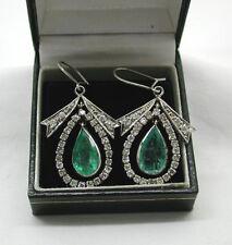 Fabulous Vintage Pair White Gold Emerald & Diamond Pear Shaped Dropper Earrings