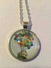 Vintage Pieces - Silver Necklace Glass Cameo - Disney Up Balloon House